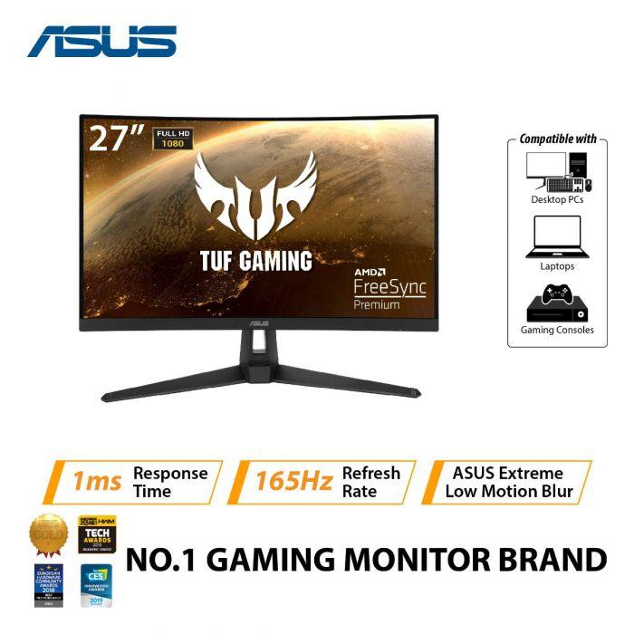 "ASUS TUF VG27VH1B 27"" FHD LED CURVED GAMING MONITOR 165HZ 1MS W/ SPK WLMNT (HDMI, DB15)"