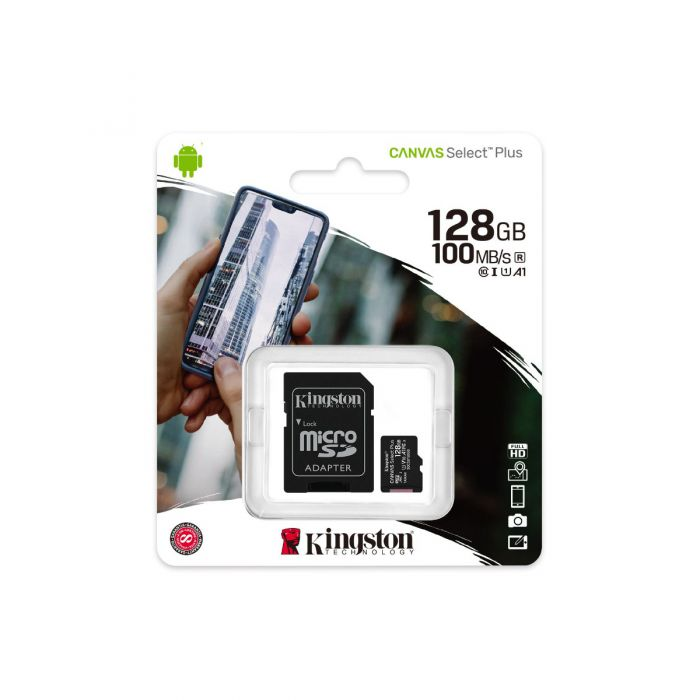 KINGSTON 128GB CANVAS SELECT PLUS CLASS 10 SDHC 100MB/S FLASH MEMORY W/ ADAPTER