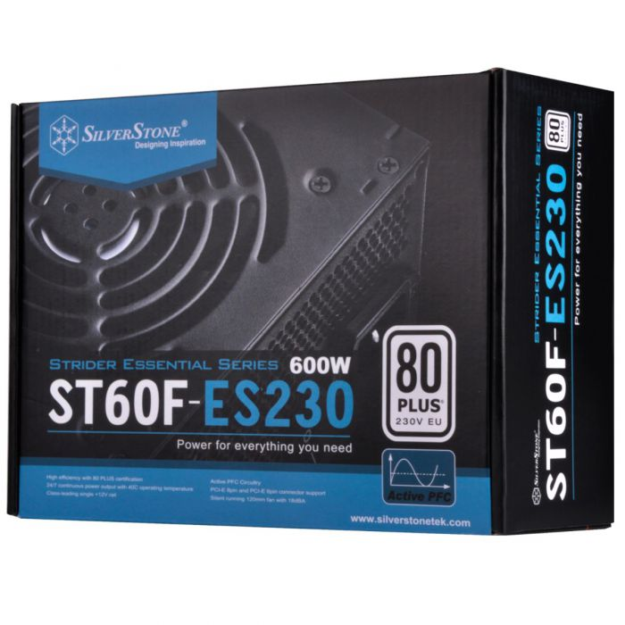 SILVERSTONE ST60F-ES230 STRIDER ESSENTIAL 600W PSU (NON-MODLR CABLNG)