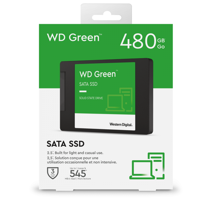 """WESTERN DIGITAL 480GB GREEN SSD 3D NAND (WDS480G2G0A) 2.5"""" 7MM SATA 6GB/S"""