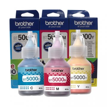 BROTHER BT-5000 CYAN+MAGENTA+YELLOW INK BOTTLE (PACK)