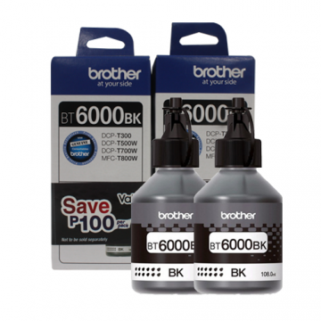 BROTHER BT-6000 BLACK INK BOTTLE (DUAL PACK)