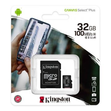 KINGSTON 32GB CANVAS SELECT PLUS CLASS 10 SDHC 100MB/S FLASH MEMORY W/ ADAPTER