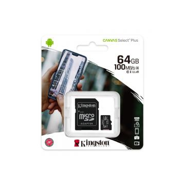 KINGSTON 64GB CANVAS SELECT PLUS CLASS 10 SDHC 100MB/S FLASH MEMORY W/ ADAPTER